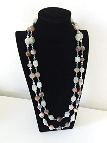Collana colorata chiara -chic- collana lunga doppia - 2 fili- pietre dure - agata - fatta a mano- idea regalo donna