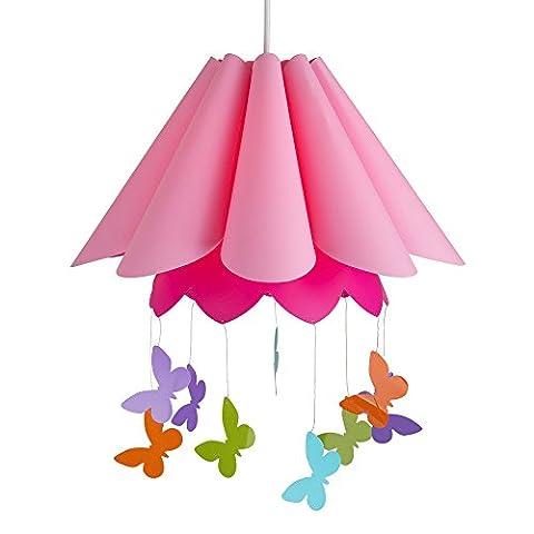 MiniSun Abat Jour Moderne Pour Suspension en Forme D'une Parapluie Rose Décoré avec Papillons Multicolore. Adapte Pour Douilles de 42 mm et de 28 mm.
