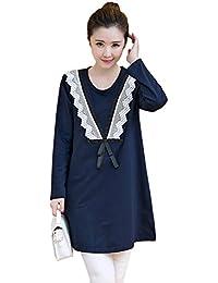 52aa93fc8809 BOZEVON T-shirt lunga Donna di Premaman allattamento Vestito lunghe in  pizzo a maniche con