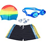 [Sponsored Products]Bloomun Swimming Shorts Swimsuit For Kids Boy Sky Blue & Yellow Stripe By Side (6 - 7 Years Slim Figure)