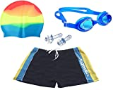 Bloomun Swimming Shorts Swimsuit for Kids Boy Sky Blue & Yellow Stripe by side (8 - 10 Years Slim Figure) (Swim shorts + Goggles + Cap)
