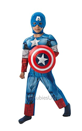 Kostüme Dress Fancy Comic Marvel (Captain America Deluxe Medium costume Kids Fancy)