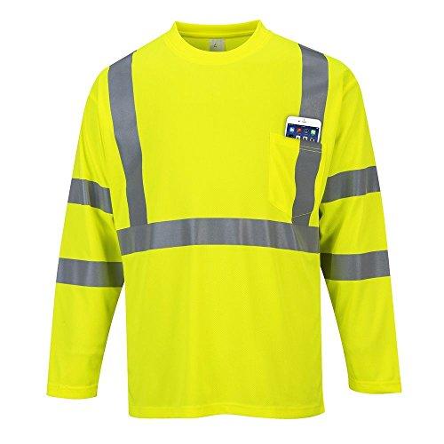 Portwest S191yerxl pour homme Haute visibilité à manches longues Pocket T-shirt, Regular, taille XL, Jaune