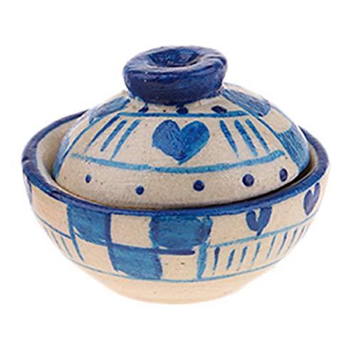 fenteer 12th Dolls House Miniature Porcelain Clay Pot Bowl Kitchenware