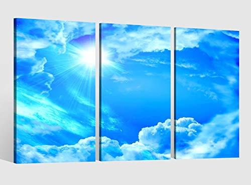 Leinwandbild 3 Tlg Himmel blau Wolke Wolken Licht Sonne Bild Bilder Leinwand Leinwandbilder Kunstdruck fertig gerahmt 9AB4068, 3 tlg BxH:120x80cm (3Stk 40x 80cm) -