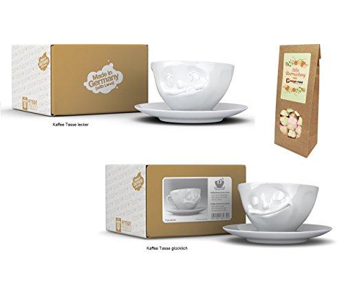Kaffeetassen 2er SET + süße Überraschung, Fiftyeight, TV Tassen, 200 ml, LECKER+GLÜCKLICH