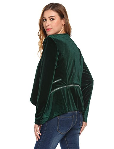 Meaneor Damen Abziehbar Samt Blazer Asymmetrisch Langarmjacke Elegant Tailliert Kurzblazer Dunkelgrün