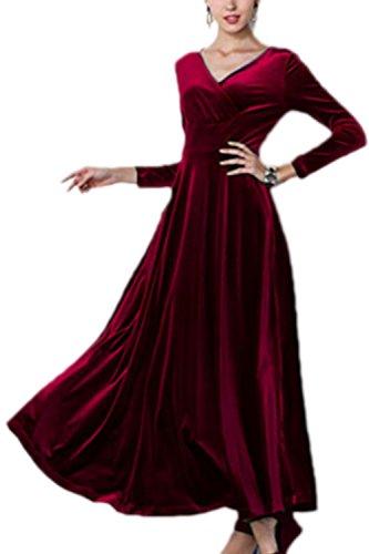 Frauen Elegant Samt Lange Ärmel mit Maxi - Kleid und Größe Red M