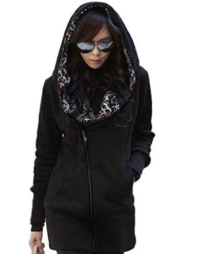 Minetom Mujer Otoño Invierno Capucha Chaqueta Leopardo Encapuchado Largo Abrigos Camisa De Jersey Negro ES 38