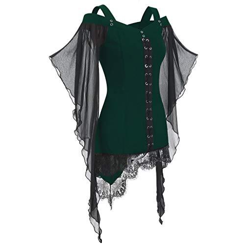 GOKOMO Halloween Damen Oversize Langarm Cosplay T-Shirt Oberteile Kapuzenpullover Shirt Transparent TüLl Mesh Bluse Body Tunika Tops(Grün-b,Small)