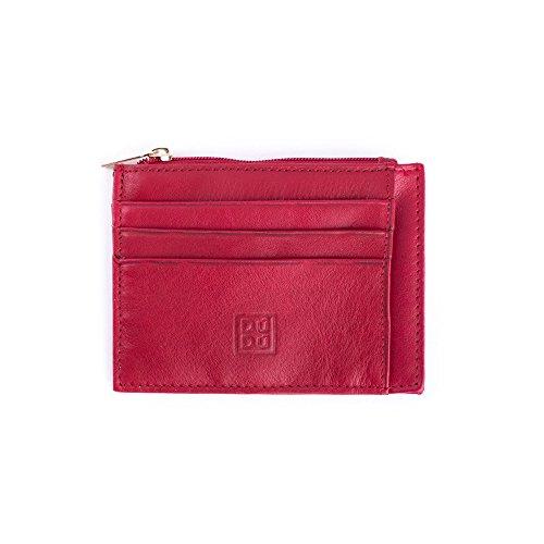 Porta carte di credito Uomo Donna 7 Slot in Vera Pelle con Portamonete Zip DUDU Rosso