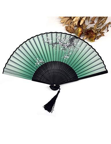 cher 1 Stücke Chinese Spun Silk Blumendruck Klapp Hohl Geschnitzte Hand Fan Event & Party Supplies ()