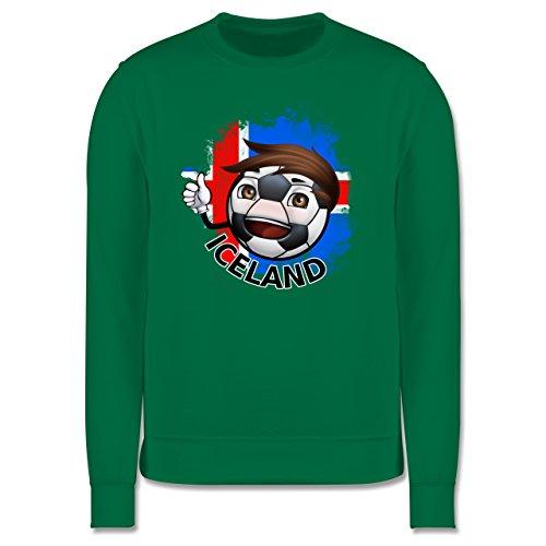 EM 2016 - Frankreich - Fußballjunge Island - Herren Premium Pullover Grün