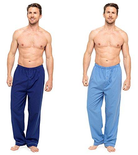 Herren Pyjama Hose Lang mit Streifen, 2er Pack einfarbig