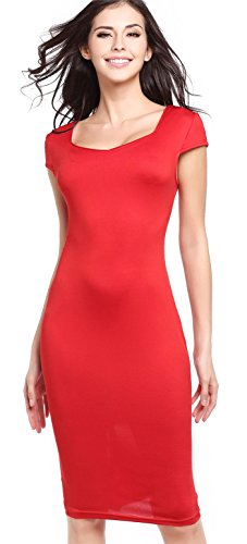 Sexy Kurzarm Square Neck Midi Midikleid Bodycon Etui Etuikleid Figurbetontes Dress Kleid Rot M (Square Red Neck)