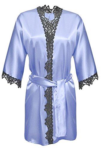 DKaren-Nachtwäsche Morgenmantel aus Satin VIOLA (XS �?2XL) Hellblau