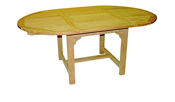 Amazon De Linder Exclusiv Echt Teak Tisch Gartentisch Teaktisch Oval Ausziehbar 180 120 X 120 X 75 Cm Df53