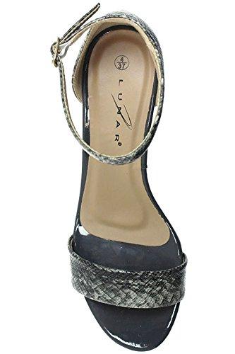 Fantasia Boutique jlh845 Jilly Damen Patent Schlangenmuster Schnalle Knöchelriemen mittlere Stöckel Sandalen Grau