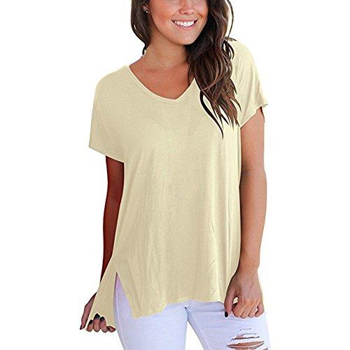Hibote Camisa Mujer Manga Corta Camiseta Túnica Split Asimetría Tops Casual Blusa con Cuello V de Color Liso Holgada Camisa Suave cómodo tamaños