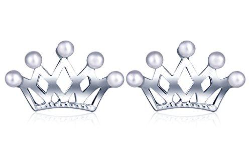 Unendlich U Fashion Mini Prinzessin Krone Damen Ohrstecker 925 Sterling Silber Perlen Stecker Ohrringe Ohrschmuck, Silber (Prinzessin Sweep)