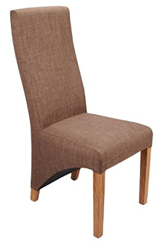 Shankar Baxter Linen Effect Upholstered Dining Chairs, Cinnamon, Set of 2