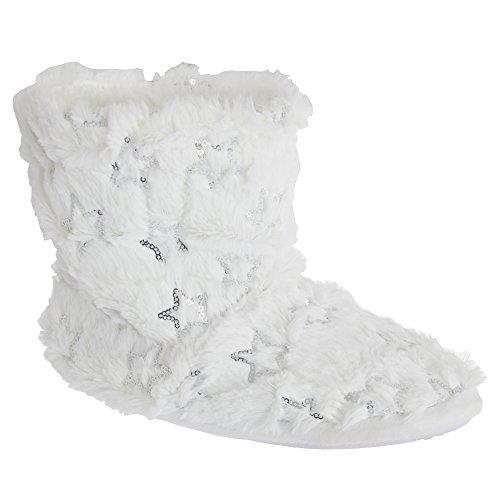Slumberzzz flauschige Damen Hausstiefel (40/41 EU) (Weiß)