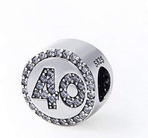 FeatherWish - Abalorio de plata de ley 925 para pulsera Pandora, diseño de 40 cumpleaños con circonitas cúbicas