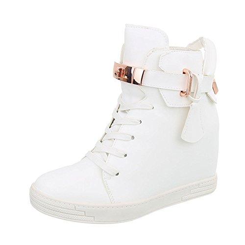 Ital-Design Sneakers High Damen-Schuhe Sneakers High Keilabsatz/Wedge Keilabsatz Reißverschluss Freizeitschuhe Weiß, Gr 38, A-52-