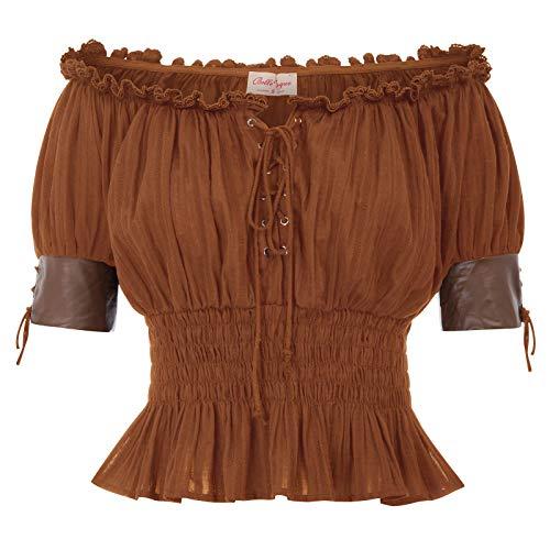 Viktorianische Gotische Renaissance Stretchy Blusen Shirts Top Braun Größe 2XL