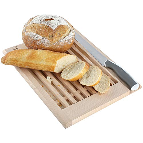 Creative Home Brot-Schneidebrett mit Krümelfang aus Buche-Holz   35,5 x 28,5 x 2 cm   Praktisches Krümelbrett und Platz fürs Messer   Schneidebrett mit Gitter   Perfektes Brot-Brett mit Auffangschale