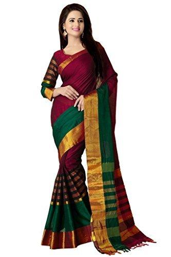 Venisa Women's Cotton Saree With Blouse Piece (17303_Green-Purple)