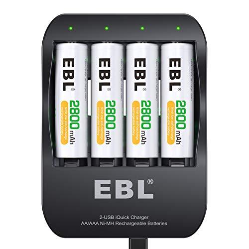EBL Schnell Batterieladegerät inkl. 4X AA 2800mAh, USB Akkuladegerät für NI-MH AA AAA Akkubatterien, 2-USB Port für Reise