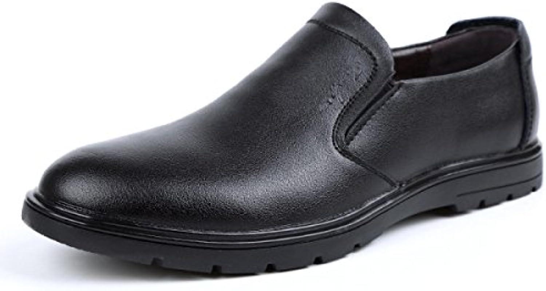GRRONG Herren Leder Schuhe Geschaumlft Breath Schwarz Braun