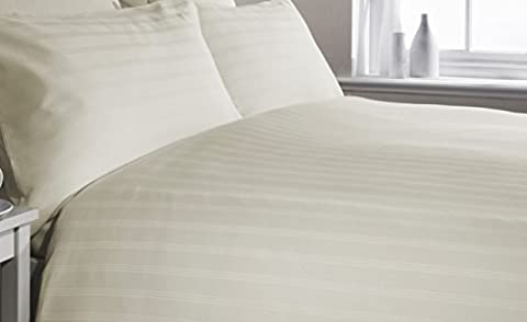 IVORY/CREAM KING Bed Size TRIPLE STRIPE Print, 300 Thread Count Luxury Egyptian Cotton, Duvet Cover and Pillow Cases Bedding Set, By VICEROY