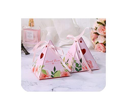50 PC-Pyramide Hochzeit Pralinenschachtel Papier Geschenk-Verpackung Baby-Geburtstags-Party Duschenbevorzugungen Marmor Anwesender Kasten Schokolade,als Bild,7X7X8 Cm