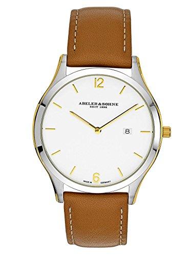Abeler & Söhne fabricado en Alemania bicolor Reloj de hombre con cinta de piel, cristal de zafiro y fecha as3019