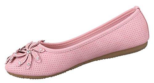 Damen Ballerinas Schuhe Slipper Loafers Halbschuhe Sommer Beige Rosa 36 37 38 39 40 41 42 Rosa