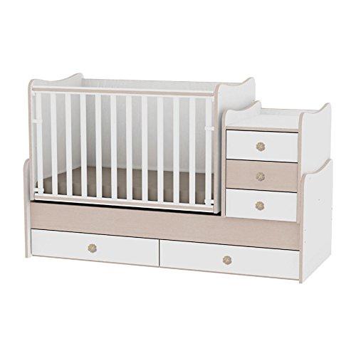 Lit bébé évolutif/ combiné Maxi Plus blanc/chêne Lorelli (Le lit se transforme en lit d'adolescent, bureau, armoire multifonction)