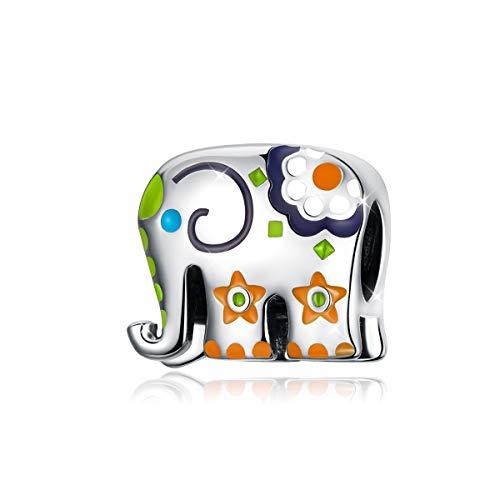 Abalorio charm elefante de plata Esmalte Colorido Tailandia Animal Beads Charms Compatible con Pulseras Pandora Collar