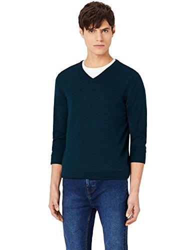 MERAKI Merino Pullover Herren mit V-Ausschnitt, Grün (Bottle Green), Medium