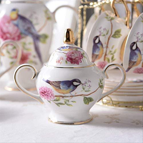 QYYDMKB Pastoral Bird Bone China Kaffeeservice Porzellan Teeservice Keramikbecher Topf Zuckerdose Milchkännchen Teezeit Party Kaffeetasse Zuckerdose China Sugar Bowl