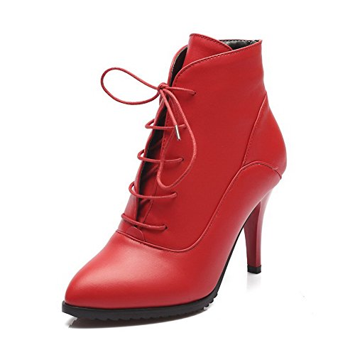 VogueZone009 Donna Scarpe A Punta Alla Caviglia Tacco A Spillo Puro Luccichio Stivali Rosso