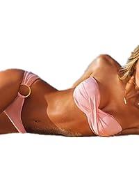Aolevia Sexy Bikini Set Push Up Bademode Strapless 8 Farben Auswählbar (Size M :(bust:60cm waist:68cm)correct size, Pink)