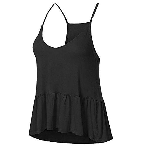 Dihope Femme Été Débardeur T Shirt sans Manches Tee-Shirt Dos Nu Gilet Casual Top à Sangle Plissée Noir