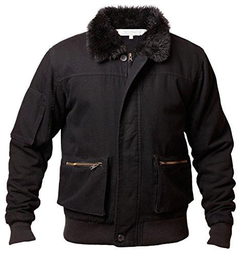 Emporio veste pour homme en coton avec fermeture éclair et col en fourrure de rac-tim1 Noir - Noir