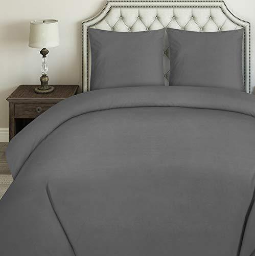 Utopia Bedding Parure de Lit en Microfibre - Housse de Couette avec 2 Taies Oreiller - (Gris, 240 x 260 cm)