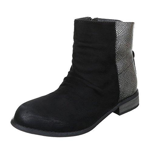 Damen Schuhe Blockabsatz Schlupfstiefel Reißverschluss Komfort Stiefeletten Stiefeletten Blockabsatz Schwarz