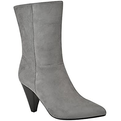 c4a8aac11669 Womens Ladies 80s Slouch Ankle Calf Boots Cone Block High Heels Celeb  Oversized Size. Fashion Thirsty