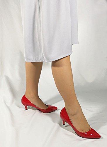 Wealsex Damen Pumps High Heels Lack Stilettos spitz Schuhe Elegante Brautschuhe Rot