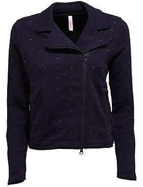 SUN 68 5923W Felpa Donna Blue Cotton Full Zip Sweatshirt Jacket Woman